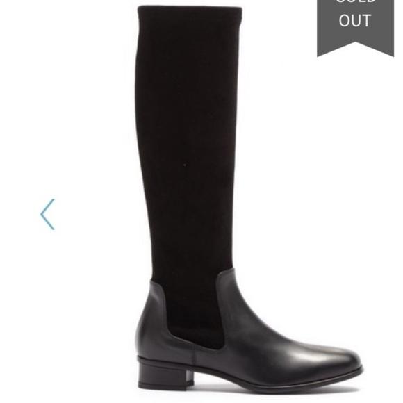 Aquatalia Lina Black Tall Suede Boots 6